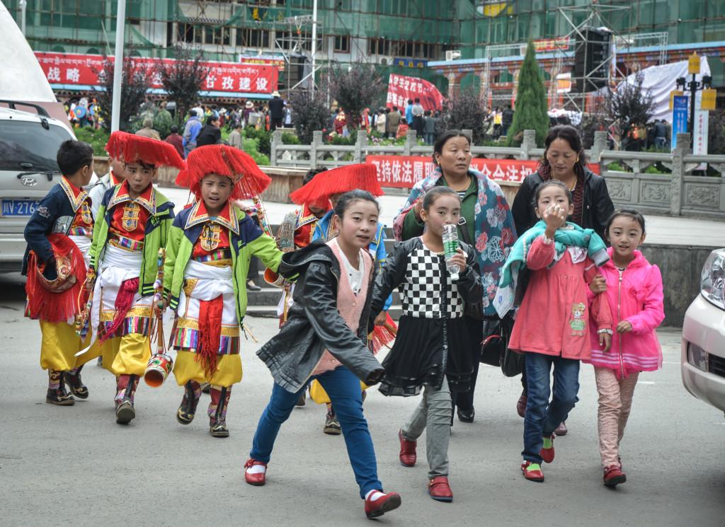 Dancers heading to a Tibetan performance.