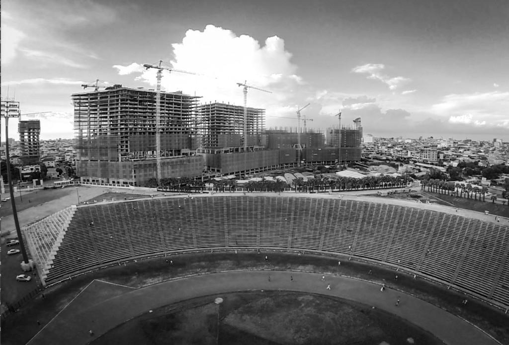 olympic stadiums construction bw
