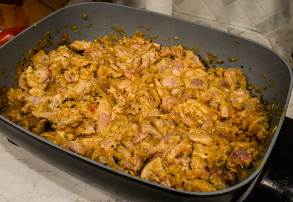 Chicken added. Electric skillets are rad.